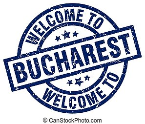 welcome to Bucharest blue stamp