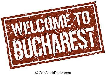 welcome to Bucharest stamp