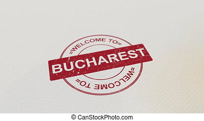 WELCOME TO BUCHAREST wooden stamp animation. Alpha matte for...