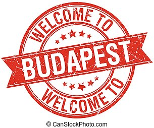 welcome to Budapest red round ribbon stamp