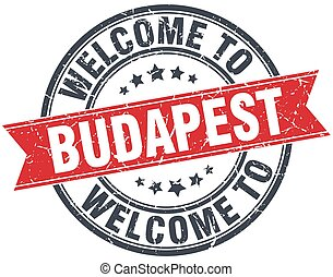 welcome to Budapest red round vintage stamp
