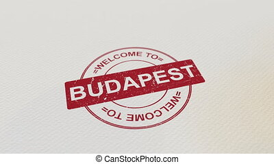 WELCOME TO BUDAPEST wooden stamp animation. Alpha matte for...