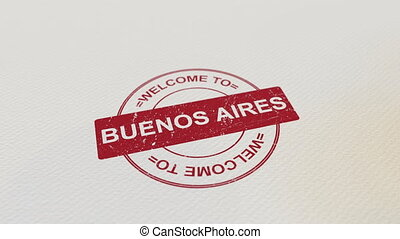 WELCOME TO BUENOS AIRES wooden stamp animation. Alpha matte...