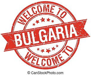 welcome to Bulgaria red round ribbon stamp