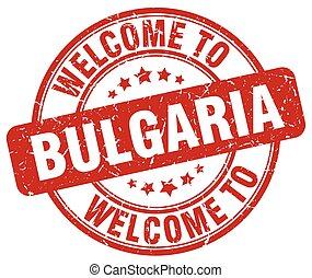 welcome to Bulgaria red round vintage stamp