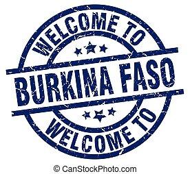 welcome to Burkina Faso blue stamp