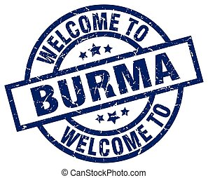 welcome to Burma blue stamp