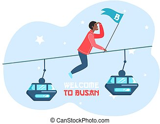 Welcome to Busan city advertising travel poster. Guy has adventures on excursion in South Korea