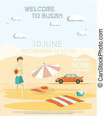 Welcome to Busan major port city, tourist travel promotion poster with man walking on sandy beach