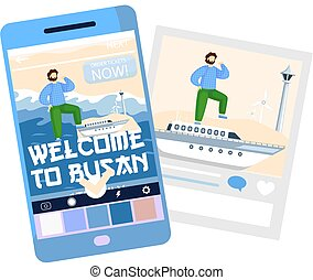 Welcome to Busan major south korea port city, travel poster with man stands on yacht sailing on sea