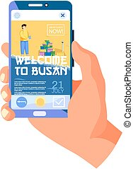 Welcome to Busan modern city tourist travel promotion poster on smartphone web page in human hand