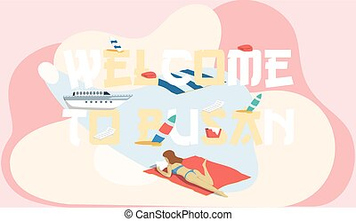 Welcome to Busan tourist travel promotion poster with girl sunbathes on beautiful sea beach