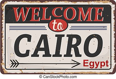 Welcome to Cairo , Illinois , road sign vector illustration, road table,