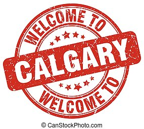 welcome to Calgary red round vintage stamp