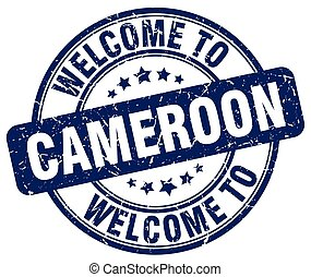 welcome to Cameroon blue round vintage stamp