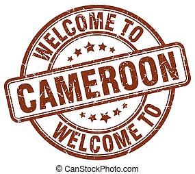 welcome to Cameroon brown round vintage stamp