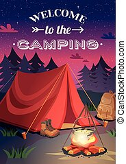 Welcome To Camping Poster - Camping vertical background...