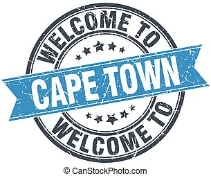 welcome to Cape Town blue round vintage stamp