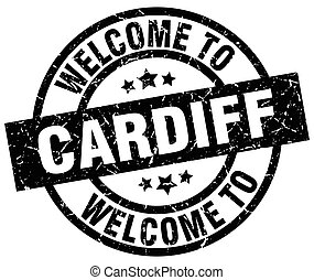 welcome to Cardiff black stamp