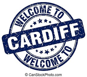 welcome to Cardiff blue round vintage stamp