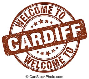 welcome to Cardiff brown round vintage stamp