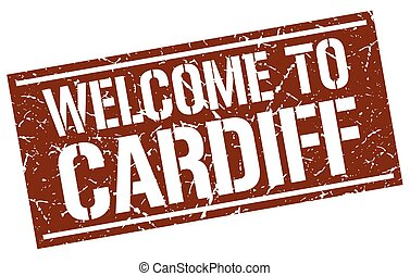 welcome to Cardiff stamp