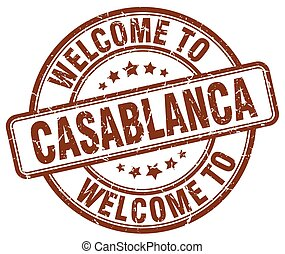 welcome to Casablanca brown round vintage stamp