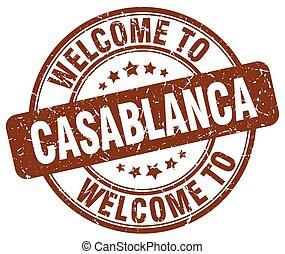 welcome to Casablanca brown round vintage stamp