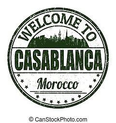 Welcome to Casablanca grunge rubber stamp