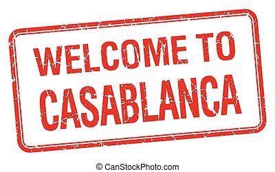welcome to Casablanca red grunge square stamp