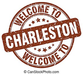 welcome to Charleston brown round vintage stamp