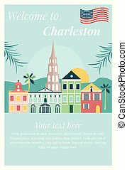 Welcome to Charleston poster with landmarks