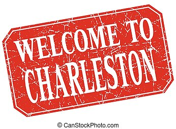 welcome to Charleston red square grunge stamp