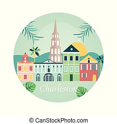 Welcome to Charlestone poster with landmarks