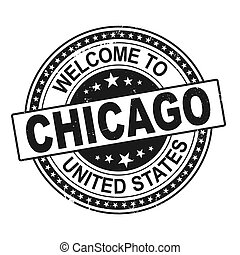 welcome to Chicago black round ribbon stamp