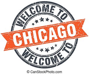 welcome to Chicago orange round ribbon stamp