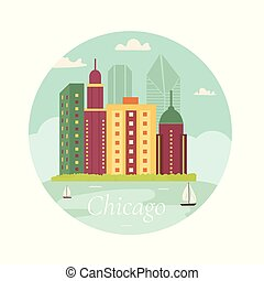 Welcome to Chicago poster. View on lake. skyscraper