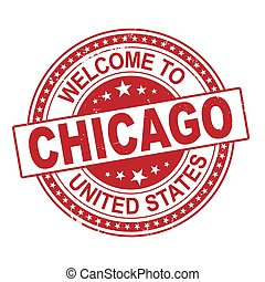 welcome to Chicago red round ribbon stamp