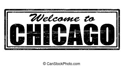 Stamp with text welcome to Chicago inside, vector illustration