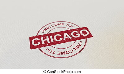 WELCOME TO CHICAGO wooden stamp animation. Alpha matte for...
