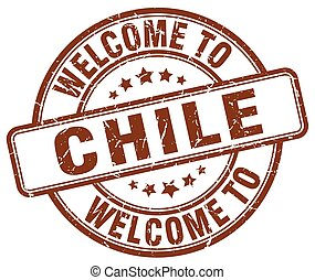 welcome to Chile brown round vintage stamp