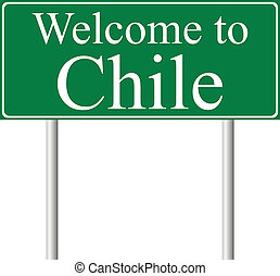 Welcome to Chile, concept road sign