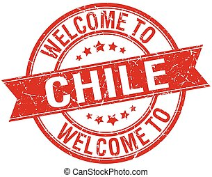 welcome to Chile red round ribbon stamp
