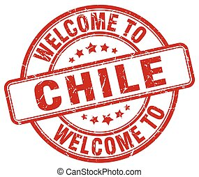 welcome to Chile red round vintage stamp