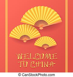 Welcome to china invitation card design template with yellow traditional fans on red background. Flat style vector illustration