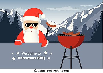 welcome to christmas BBQ santa claus grills sausages funny cartoon