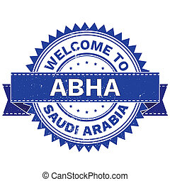 WELCOME TO City ABHA Country SAUDI ARABIA. Stamp. Sticker. Grunge Style JPEG .