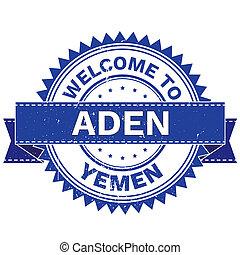 WELCOME TO City ADEN Country YEMEN. Stamp. Sticker. Grunge Style JPEG .