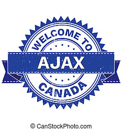 WELCOME TO City AJAX Country CANADA. Stamp. Sticker. Grunge Style JPEG .