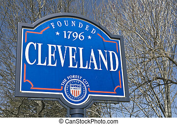 Welcome to Cleveland - Downtown Cleveland - seen during late...